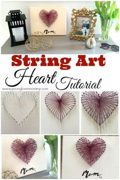 diy presents Mothers Day gift ideas, crafts for Mothers Day, easy heart string art craft. String art craft, Gifts for mom, DIY Gifts for moms Diy Mother's Day Crafts, Mother's Day Diy, Easy Crafts, Arts And Crafts, Diy Mother's Day Art, Easy Craft Projects, Diy Gifts For Mom, Mothers Day Crafts For Kids, Diy Mothers Day Gifts