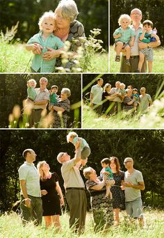 Family interacting not staring at camera and smiling. Good vantage point with foreground tall grass blurred to increase sense of depth and to softly frame the people.