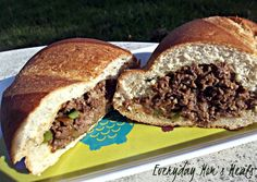~Cheesy Hot Beef Sandwiches~ Simple enough for a weeknight supper, or perfect for feeding a party or tailgating crowd, these sandwiches are ground beef, cheese, peppers and seasonings stuffed into French bread!