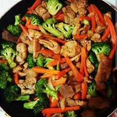 6 porciones Ingredientes3 o 4 pechugas de pollo deshuesadas (se puede hacer con carne de res o cerdo).Sal y pimienta al gusto1 cebolla mediana cortada en julianas3 zanahorias cortadas en tiritas1 brócoli cortado en pequeños arbolitos5 cdas de salsa de soya3 cdas de azucar moreno Preparación ...