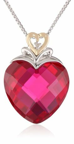 """XPY Sterling Silver and 14k Yellow Gold Created Ruby Heart and Diamond-Accent Pendant Necklace, 18"""""""
