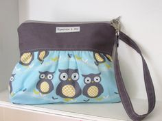 Gathered Wristlet in Yellow and Gray Owls by sparrowandjoy on Etsy, $24.50