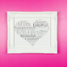Beautiful Sparkly Word Art Gift for a special Mum. Silver sparkles grey words in a heart shape framed in a White Shabby Chic gloss frame. Personalised Picture.
