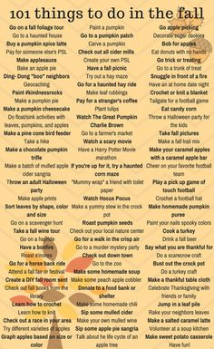 101 things to do in the fall! Fun, recipes and mostly free. Fall is finally here! It is by far my favorite season, so I complied a list of 101 things to do in the fall. Bonus, many of them are free! Diy Crafts To Do, Fall Crafts, Pumpkin Crafts, Herbst Bucket List, Crafts To Do When Your Bored, Restaurants In Paris, Fall Inspiration, Cute Date Ideas, Fun Ideas