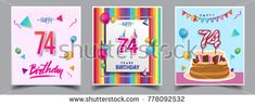 Vector Sets of 74 Years Birthday invitation, greeting card Design, with confetti and balloons, birthday cake, Colorful Vector template Elements for your Birthday Celebration Party.