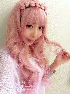 [Kyouko wig] Harajuku lolita pink streaked pale golden color mixing air volume Taobao wig 70cm-