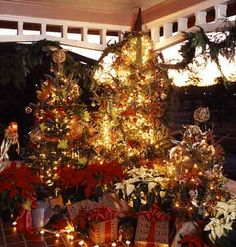 Trees decorated on a front porch...in various sizes using decorative packages and pointsettias at the base to complete the look.  Festive idea!