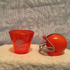 NFL MINI PLASTIC HELMET (2010) & NFL Plastic SHOT CUP (2009) Cleveland Browns