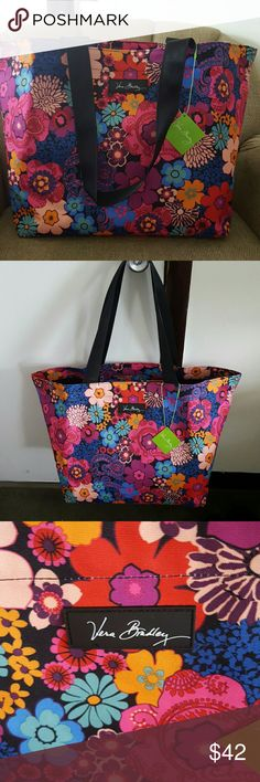 """VERA BRADLEY LARGE TOTE💜💗💙 New with tags...   LARGE TOTE....    BEAUTIFUL pattern. 💜💙 FLORAL FIESTA💜💙 Came out end of March 2017  Large Lightweight family tote with pocket inside.  INSIDE is plastic lined.  Outside is a poly waterproof material.   Very sturdy bag.!  CAN BE USED AS A TRAVEL BAG,  BEACH BAG, SHOPPING BAG  ETC.  VERY versatile BAG!!!💟  SZ. Is 23.5"""" x 14"""" x 9.5""""  💜💗💙💜💗💙 Vera Bradley Bags Totes"""