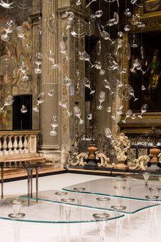 #Salone2015 #GLASITALIA Specchio di Venere high table design #MassimilianoLocatelli in the suggestive location of Chiesa di San Paolo Converso #CLSArchitetti #FuoriSalone2015   ph Delfino Sisto Legnani
