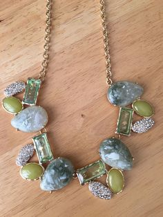 Fashion Green Stone Frontal Rhinestone Gold Tone Statement Necklace Earring Set #DazzledByJewels #necklace #green #Fashion #jewelry