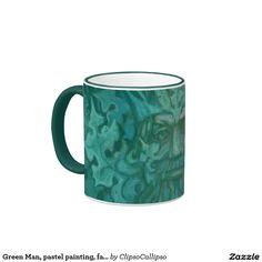 Green Man, pastel painting, fantasy art Ringer Coffee Mug  #greenman, #celtic, #pagan, #irish, #green, #jackofgreen, #viridios