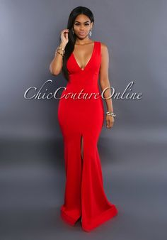 Chic Couture Online - Symphony Red Slit Front Gown, (http://www.chiccoutureonline.com/symphony-red-slit-front-gown/)