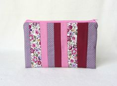 Patchwork pouch, zipper pouch, cotton zipper case, floral and dot case, makeup case, gift for her, pencil case by JRsbags on Etsy