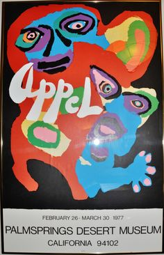"Vintage Framed Karel Appel Palm Springs 1977 Exhibition Poster 31"" x 20"""