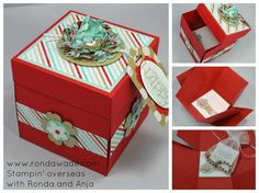 www.rondawade.com SupriseBox! Make this cute box and watch it explode open to hold a gift, pictures or gift cards!  Full tutorial on my blog!