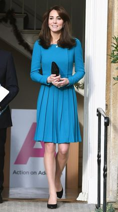 a4cf6512280 Kate wore a pleated teal dress by Emilia Wickstead for an official visit to  the Action