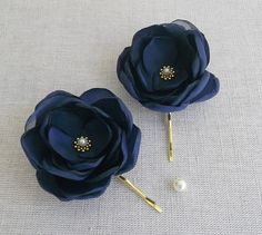 Small navy blue flower in handmade Bridal by ZBaccessory on Etsy, $13.00 for Brooke and Bella