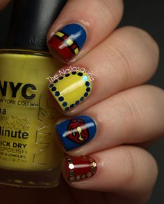 Superman Nails! - The Nailasaurus..Im going to do this hahah try anyways for my nephew. i would be the coolest aunt ever!!