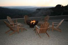 Ted in Salina, California sent in these photos of his Great Bowl O Fire™ on a cliffside patio at sunset. The large gravel patio has a great view and the cedar louge chairs are totally the way to kick back and enjoy the sunset around a firebowl.