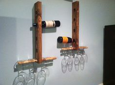 Wood Wine Rack by MadeByMarkinc on Etsy, $50.00