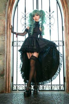 #gothic fashion #black dress #goth #gothic #Asian fashion #women fashion #dark fashion #garters #wig #pretty