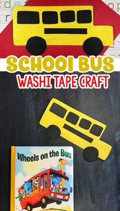 The Wheels On The Bus: A Fun Washi Tape School Bus Craft For Kids, Washi Tape Crafts, Book Crafts, Wheels on the Bus Crafts, Homeschool Craft Ideas Easy Crafts For Kids, Toddler Crafts, Art For Kids, Simple Crafts, Educational Activities For Toddlers, Craft Activities For Kids, School Bus Crafts, 1st Grade Crafts, Bus Art