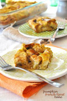 Pumpkin French Toast Bake - breakfast for dinner? pumpkin makes everything better Pumpkin French Toast, French Toast Bake, Pumpkin Recipes, Fall Recipes, Baked Pumpkin, Pumpkin Butter, Pumpkin Bread, Pumpkin Puree, What's For Breakfast