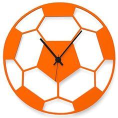 "Wandkings wall clock ""football"" made of acrylic glass, available in 11 colors (color: clock = orange glossy, pointer = black) - HOME DECOR Clock Art, Diy Clock, Clock Decor, Cnc Laser, Laser Cut Wood, Rock Around The Clock, Wall Clock Wooden, Wall Watch, Cool Clocks"