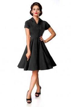 Kleidung & Accessoires 50er Swing Sexy Black Scallop Neck Abendkleid Schwarz Kleid S M L Schwarz