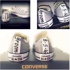 Mens Converse all star Grey or Black white Classic canvas chucks sneakers wedding groom i do date personalized matching womens bride shoes by CrystalCleatss on Etsy