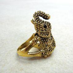 Vintage Gold Elephant Ring