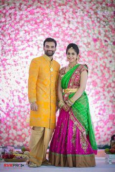 Lovely Telugu bride and groom .Bridal Lehenga heavy blouse embroidery Telugu bride Tamil bride Heavy Bridal Jewellery haaram jhumkha Bridal Lehenga Choker stage decor