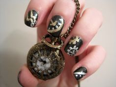 Black Background Gold Details Symbols Three Dimensional Gadgets and Gears Steampunked Vintage Steampunk Black and Silver Shades of Metal Steampunk Machine Gun Manicure Steampunk Nails, Steampunk Clock, Steampunk Costume, Steampunk Fashion, Steampunk Watch, Cute Nails, Pretty Nails, Fascinator Hairstyles, Steampunk Wedding