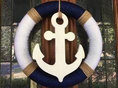 Items similar to Anchor Wreath - Seasonal Wreath - Summer Wreath - Nautical Wreath - Front Door Wreath on Etsy Anchor Wreath, Nautical Wreath, Nautical Theme, Nautical Rope, Seashell Crafts, Beach Crafts, Kids Crafts, Wreaths For Front Door, Door Wreaths
