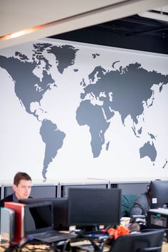 www.vinylimpression.co.uk Extra large world map vinyl wall graphics for office interior design.