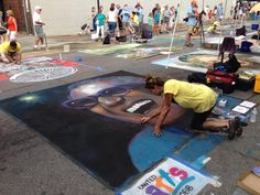 Cyndi Kostylo of Carlsbad, CA and her Ray Charles chalk art at Marietta ChalkFest 2013