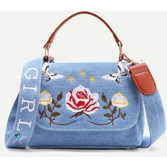 Flower Embroidery Denim Shoulder Bag With Handle (39 BAM) ❤ liked on Polyvore featuring bags, handbags and shoulder bags