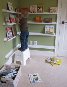 I love this idea for a bookshelf in a kid's playroom