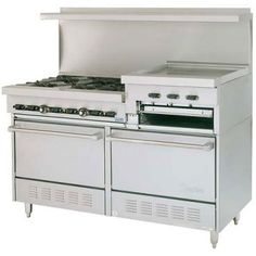 "Garland SunFire Series X60-6R24RR 6 Burner Gas Range with 24"" Raised Griddle/Broiler and Two Standard Ovens"