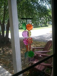 Pony beads melted at 400 degrees for about 25 minutes in a muffin tin = Lovely windchime!