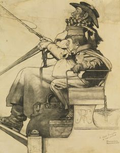 Norman Rockwell's preliminary drawing for a painting. Look at how much detail and care he put into even the sketch.