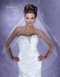 Symphony Bridal 6106VL Beaded Fingertip Wedding Veil - beautiful for your Spring Wedding! affordableelegancebridal.com