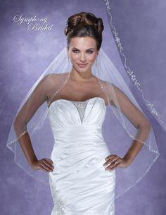 Symphony Bridal 6106VL Beaded Fingertip Wedding Veil - beautiful for your Spring Wedding! affordableelegancebridal.com