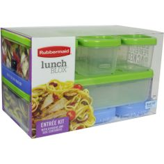 Rubbermaid LunchBlox Modular Entrée Food Containers with Blue Ice Snap-Ins, 7-Piece Set!!  So worth the money and perfect for kids lunches, days by the pool, etc!!