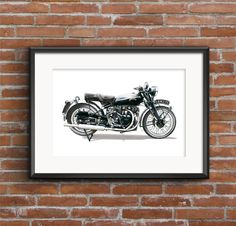 Vincent Black Shadow Series C Limited Edition Fine Art Print size Vincent Black Shadow, A3 Size, Silk Art, Jaguar E Type, Limited Edition Prints, Fine Art Prints, How To Draw Hands, Frame, Illustration