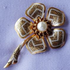 Vintage Large DAMASCENE Pearl Daisy Flower Brooch