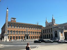 The Lateran Palace, palazzo del laterano, (ochre building on the left)