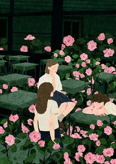 Cherry Blossom on Behance Colorful Art, Girls Cartoon Art, Illustration Artwork, Drawings, Cute Art, Illustration Art, Minimalist Art, Art Wallpaper, Aesthetic Art