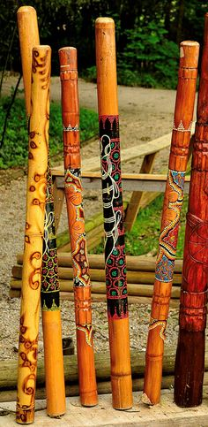 Beautiful walking sticks: Indian rain sticks filled with dried seeds that subltly shift and make the most soothing sounds